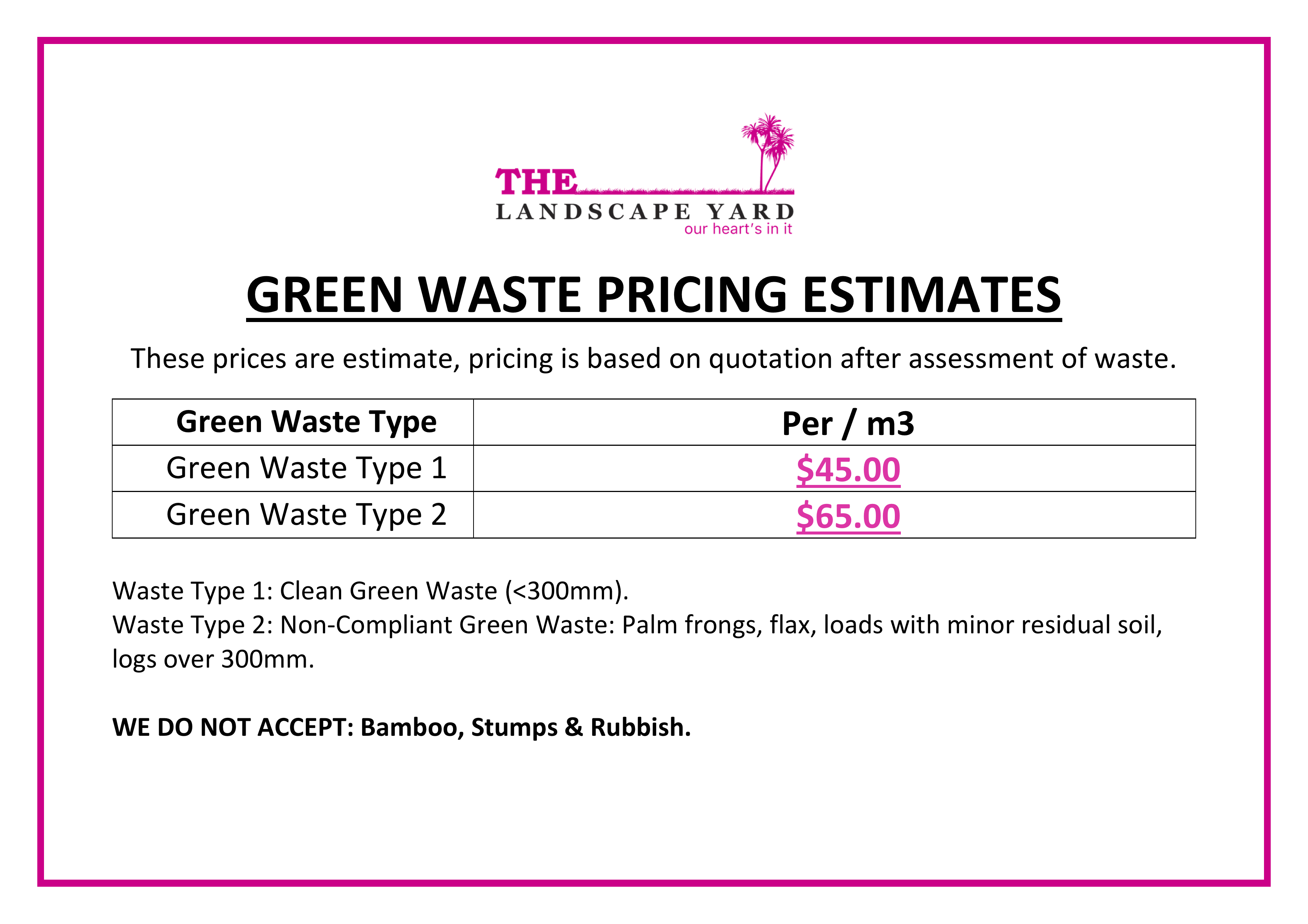Green Waste Pricing
