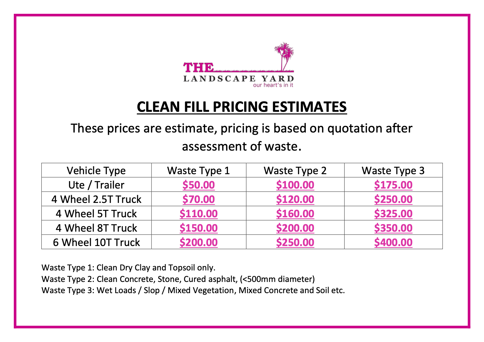 Clean Fill Pricing updated March 2021